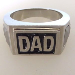 Other - Dad-Ring-Tungsten And Stainless Steel-Hematite